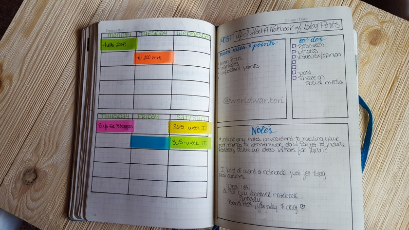 Add an editorial calendar and blog outline in your bullet journal to keep track of your schedule and research